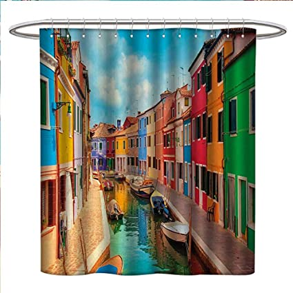 Anniutwo Venice Shower Curtains Digital Printing Colorful Buildings And Water Canal With Boats Burano Island In