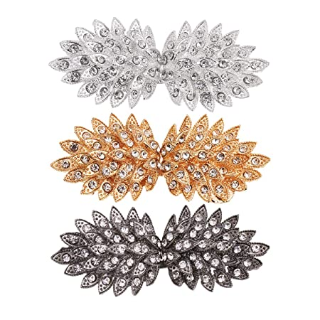 Alloy Rhinestone Crystal Duck Mouth Buckle Fasteners Clasps for Coat Overcoat