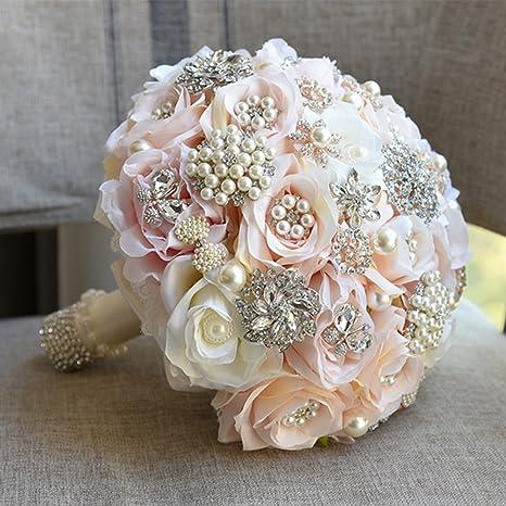 Bouquet Sposa Con Perle.Real Touch Flower Fatto A Mano In Seta Rosa Bouquet Da Sposa Con