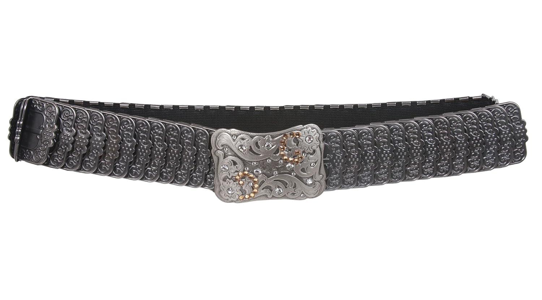 1 3//4 Rhinestone Rectangular Engraved Flower Elastic Sequent Metal Stretch Belt
