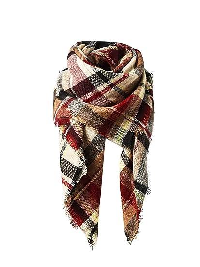 833427fbe8794 American Trends Women's Fall Winter Scarf, Classic Tassel Plaid, Warm Soft  Chunky Blanket Wrap