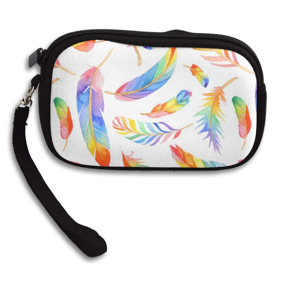 Coin Purse Rainbow Feathers wallet change Purse with Zipper Wallet Coin Pouch Mini Size Cash Phone Holder