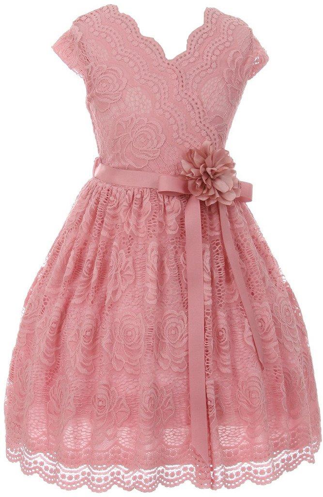 Flower Girl Dress Curly V-Neck Rose Embroidery AllOver for Little Girl Rose 8 JKS.2066