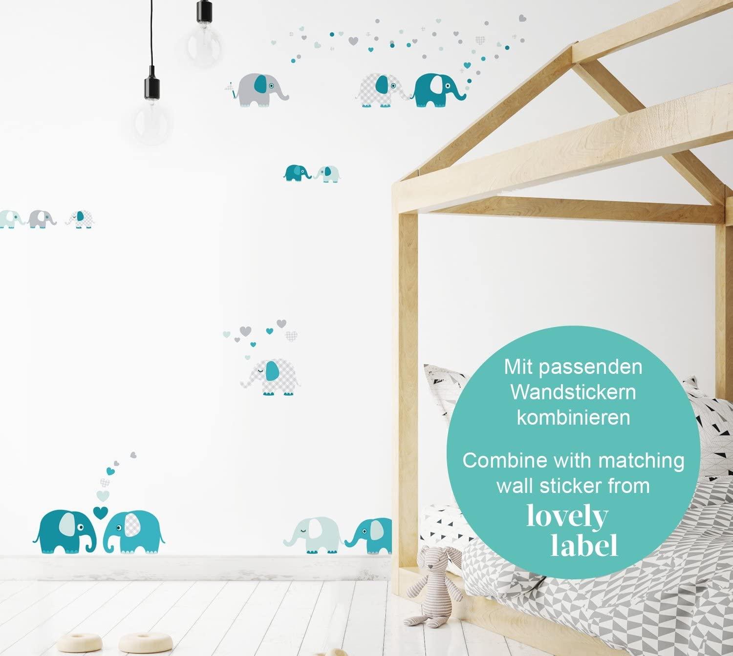 Self-Adhesive Wall Border Stickers Wall Decal and Stickers for Children Elephant Wall Stickers for Childrens Playroom or Bedroom in Teal-Mint-Grey lovely label Wallpaper Border for Kids