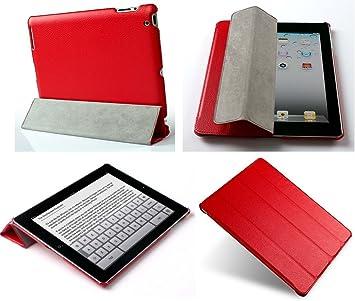 Invision® iPad 2 iPad 3 y iPad 4 Estuche Inteligente Cubierto – Características de Diseño Superior – Función Automática Magnética de Despertar-Dormir – Calidad de Cuero PU (iPad 2 3 4 / Rojo): Amazon.es: Electrónica