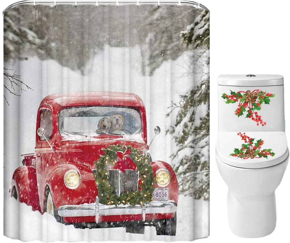 Christmas Rustic Truck Xmas Tree Gift Shower Curtain Sets Bathroom Decor /& Hooks