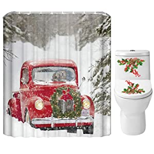Christmas Shower Curtain Set for Bathroom- Xmas Red Truck Dog Couple Wreath Tree Snowflake Snowfield, Winter Holiday Polyester Fabric Decoration with Hooks and Toilet Cover Sticker 72x72