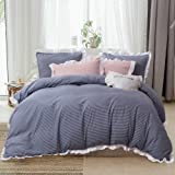 HYPREST Queen Duvet Cover Set Micorfiber Lightweight Soft Solid Color 3PC Bedding Set with Exquisite Flouncing Light…