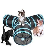 Chenci Katzenspielzeug Katzentunnel, Katze Spielzeug Hundenspielzeug Spieltunnel Faltbarer 3-Wege-Spiel Tunnel für Kaninchen Hasen Katze Hunde und Kleintiere Haustier
