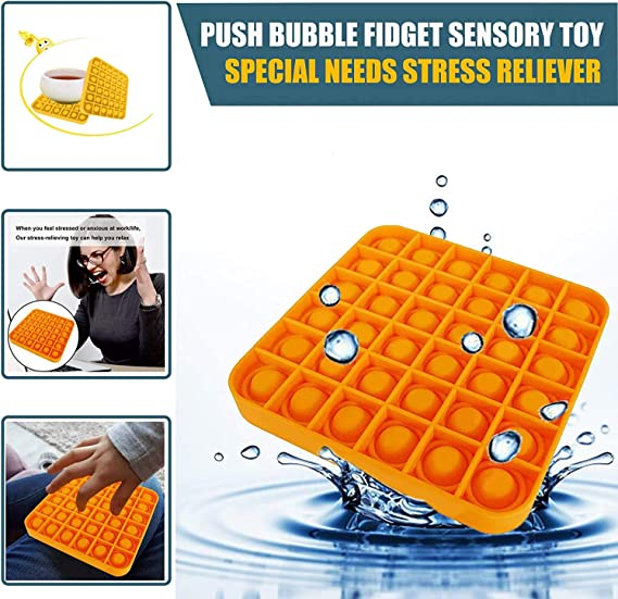 Squeeze Bubble Sensory Toys,Durable Soft Silicone Toy for Stress Reliever Training Logical Thinking,Autism Special Needs Stress Reliever SoulLife 2Pcs Push Bubble Fidget Toy