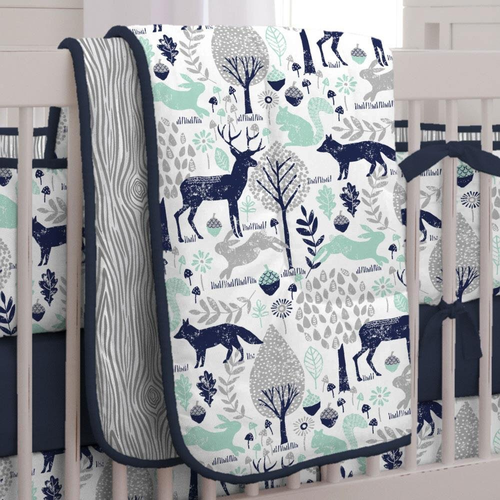 Carousel Designs Navy and Mint Woodlands Crib Comforter