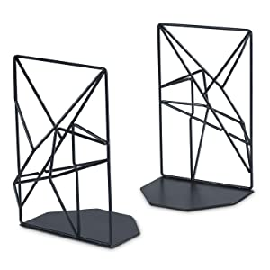 RooLee Bookends Black Heavy Duty, Metal Book Ends Supports for Shelves, Unique Geometric Design, Non-Scratching