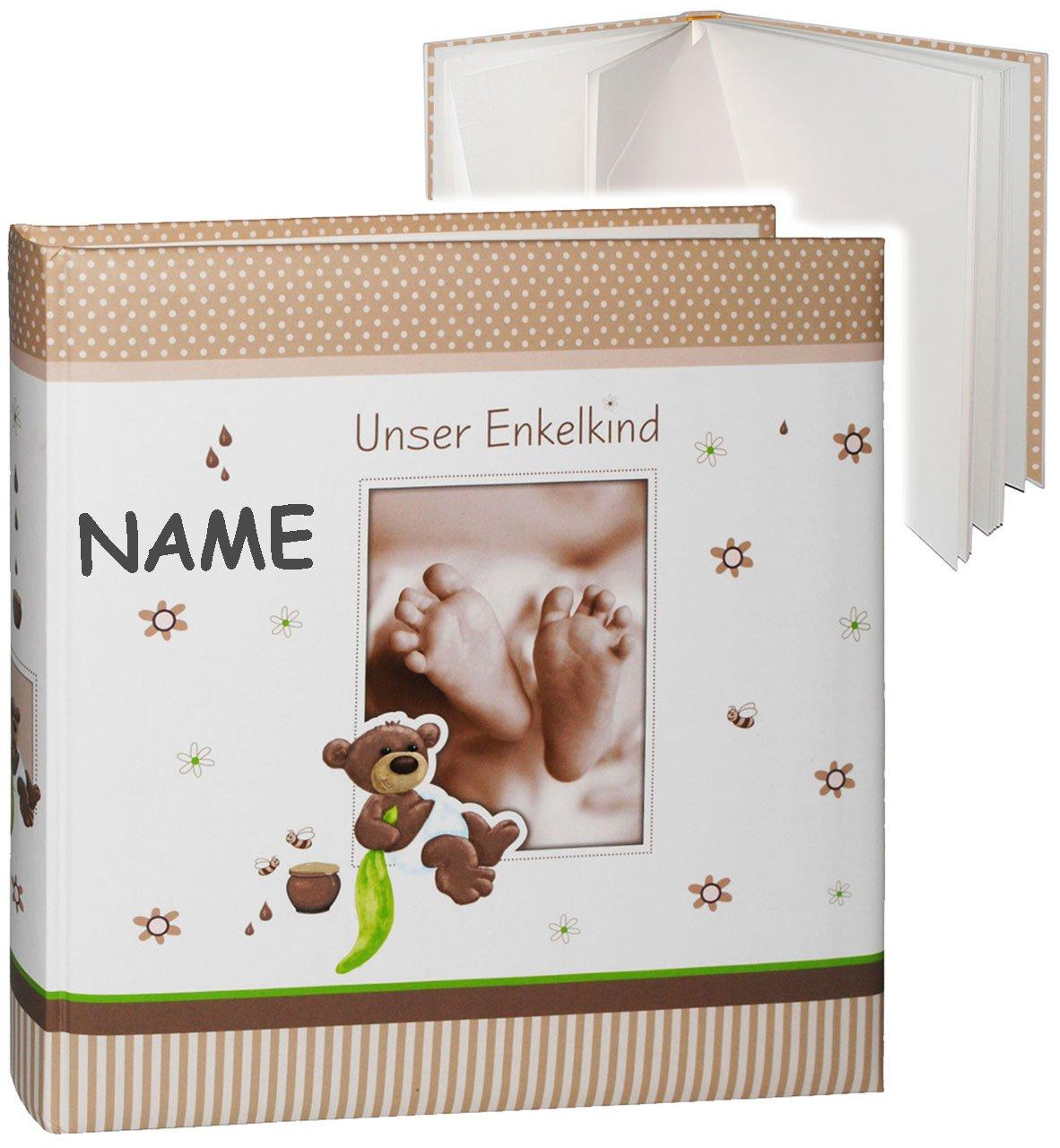 alles-meine.de GmbH gro/ßes Fotoalbum Gebunden zum Einkleben /& Eintragen Unser Enkelkind blanko wei/ß Name /_/_ s/ü/ßer Teddyb/är /& Babyf/ü/ße /_/_ Album incl gro/ß 60 Seiten ..