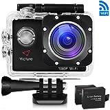 Victure Action Kamera WIFI 14MP Full HD 1080P Unterwasserkamera Sport Action Camera Cam 2.0 Zoll Wasserdichte Helmkamera Motorrad mit 170° Weitwinkel, 2 Verbesserten Batterien und Zubehör Kits