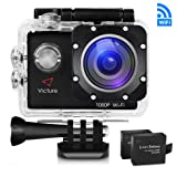 Victure Action Kamera WIFI 14MP Full HD 1080P Unterwasserkamera Sport Action Camera Cam 2.0 Zoll Wasserdichte Helmkamera Motorrad mit 170° Weitwinkel, 2 Verbesserten Batterien und Zubehör Kits