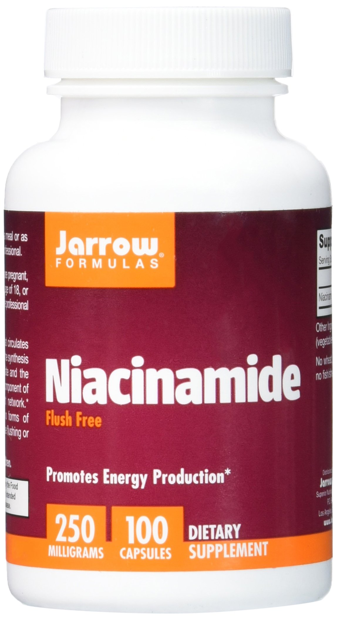 Jarrow Formulas Niacinamide, Promotes Energy Production, 250mg, 100 Capsules (Pack of 3)