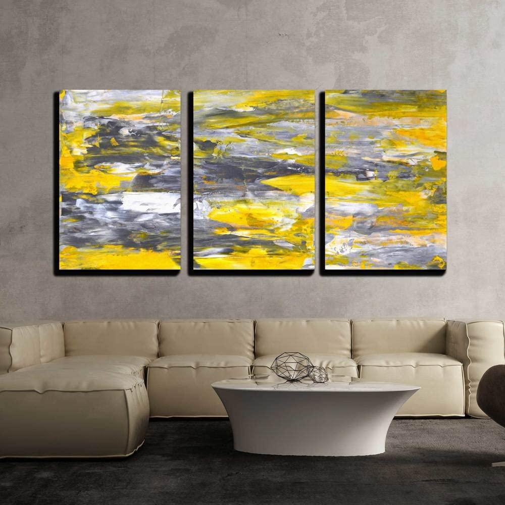 "wall26 - 3 Piece Canvas Wall Art - Grey and Yellow Abstract Art Painting - Modern Home Art Stretched and Framed Ready to Hang - 16""x24""x3 Panels"
