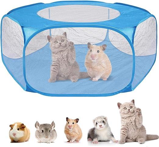 Yuehuam Tenda per Animali di Piccola Taglia con Box Traspirante a Sei Maglie Box per Animali Portatile con Coperchio con Cerniera Gabbia per Recinzione Inferiore Impermeabile per Criceti