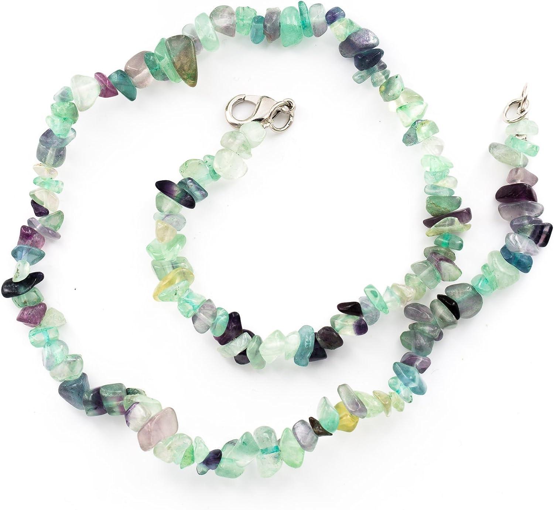 Taddart Minerals – Collar con Purpurina de Colores de Piedra Natural fluorita con 45 cm de Longitud – Hecho a Mano