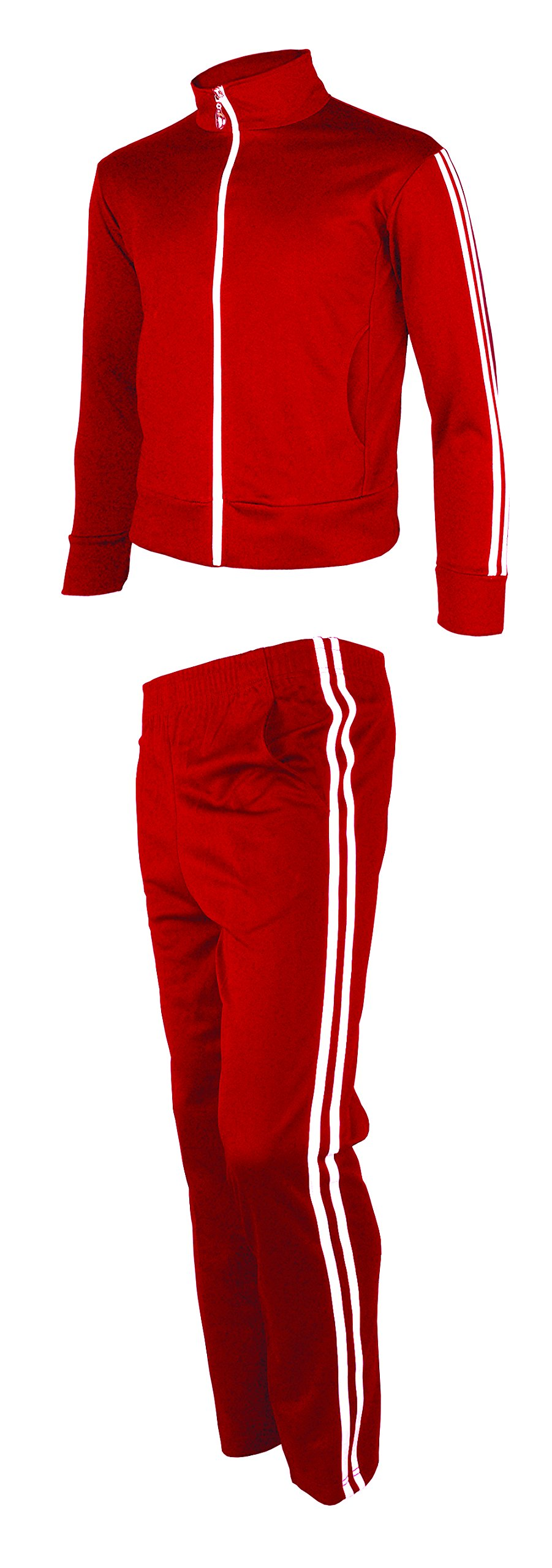 myglory77mall Men's Running Jogging Track Suit Jacket and Pants Warm up Pants Gym Training Wear M US(XL Asian Tag) Red