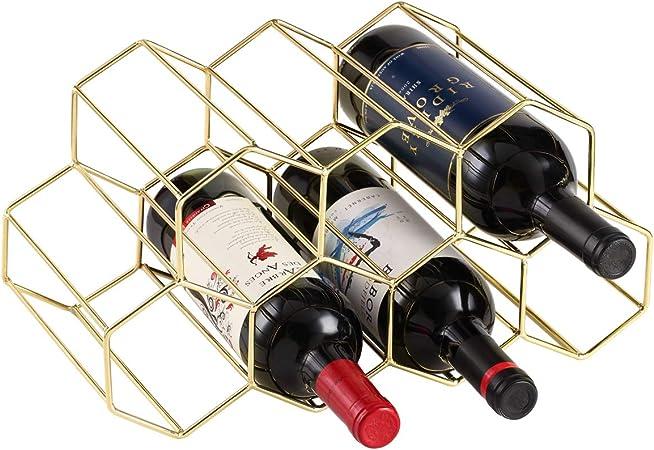 9 Bottles Metal Wine Rack, Countertop Free-Stand