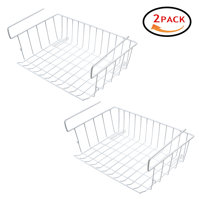 Under Shelf Hanging Wire Storage Basket for Kitchen, Pantry, Cabinet - Pack of 2
