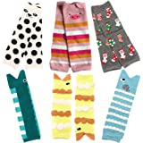 Baby and Toddler Leg Warmers Leggings Kneepads 3.15'' x 11.8'' Girls Baby Crawling Socks Packs of 6