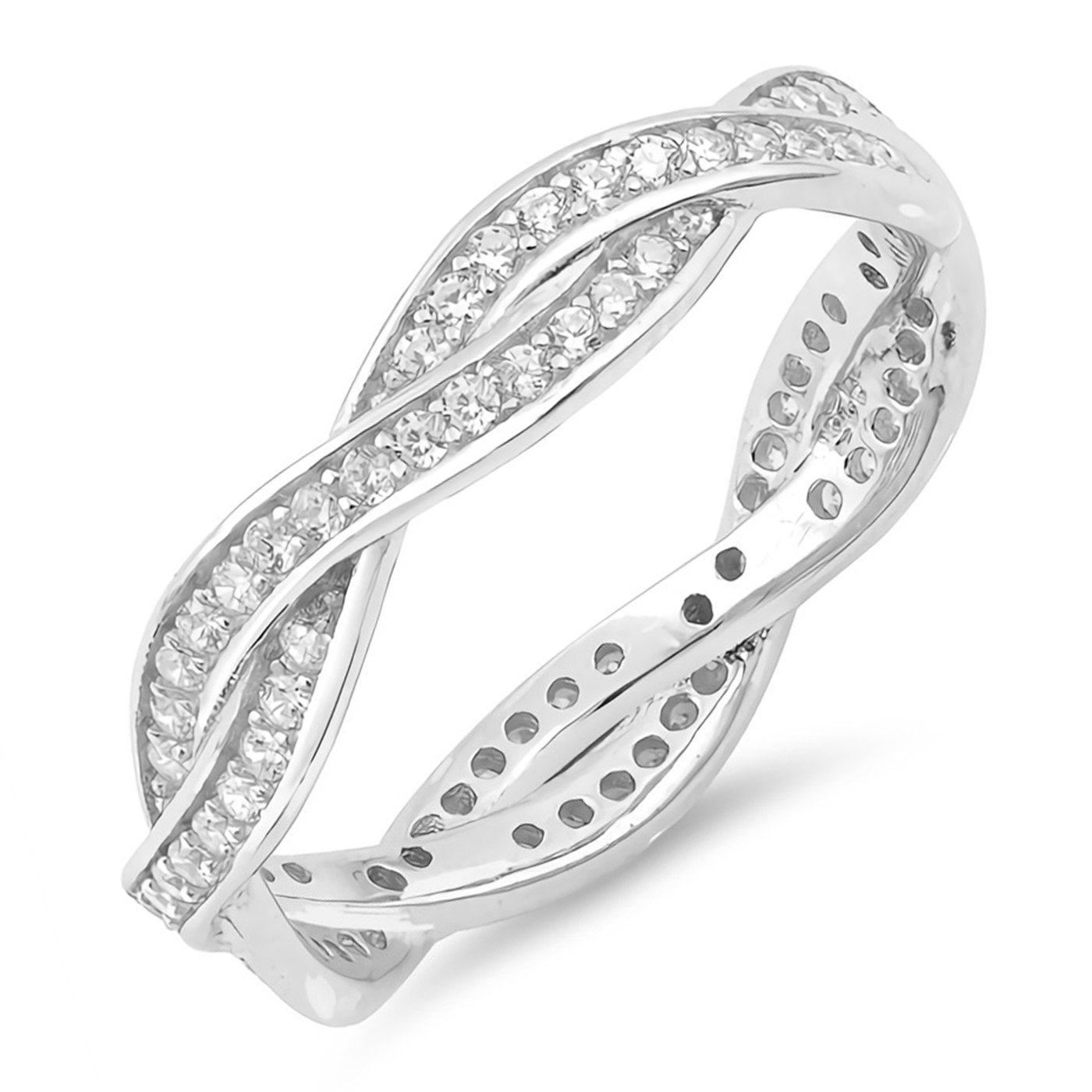 Infinity Twist Braid Engagement Promise Ring Womens Sterling Silver Cubic Zirconia Size 5