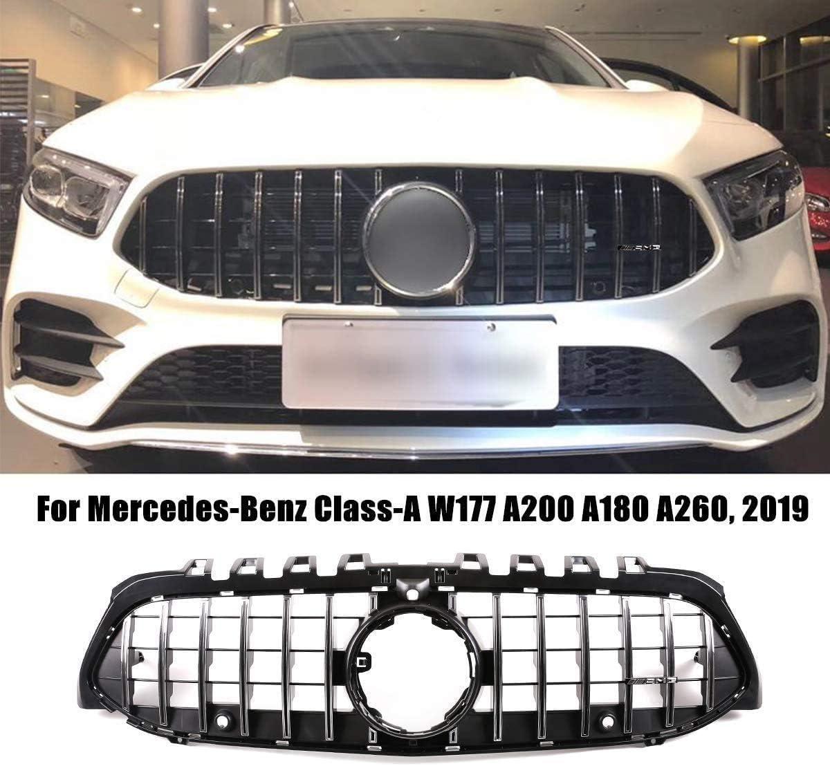 Noir-Argent Accessoires D/écoratifs De Radiateur De Voiture XXIAOHH Grille De Calandre Avant Abs Adapt/ée pour Mercedes-Benz Classe A W177 A200 A180 A260