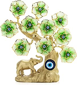 YU FENG Turkish Blue Evil Eye Gold Fortune Tree with Elephant Figurine and Green Flowers for Home Decor