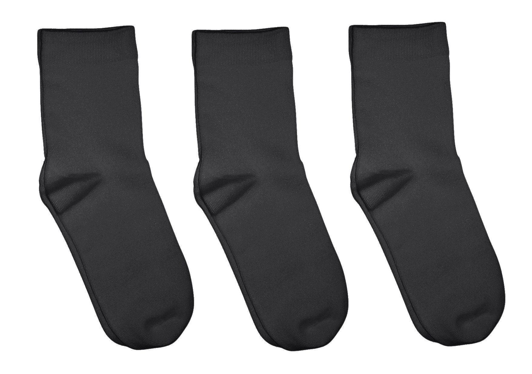 Rambutan Kids (3 Pack) Comfort Seam Plain Color Bamboo School Socks (13-2, Charcoal Gray)