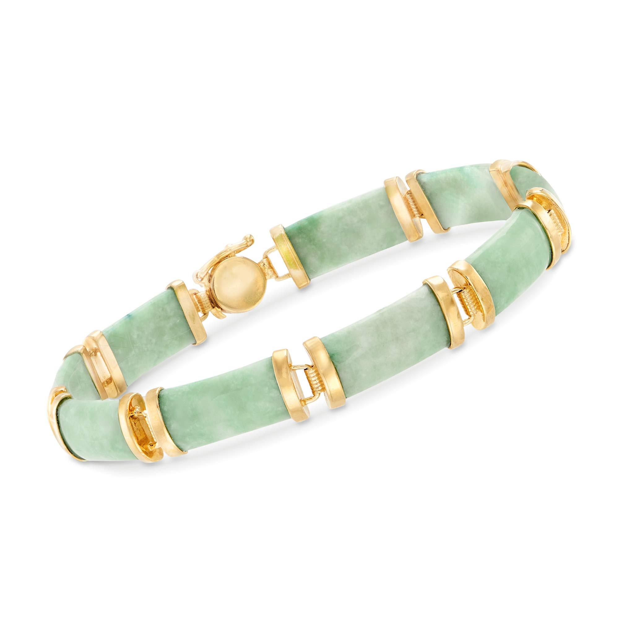 Ross-Simons Green Jade Bar Bracelet in 18kt Gold Over Sterling by Ross-Simons