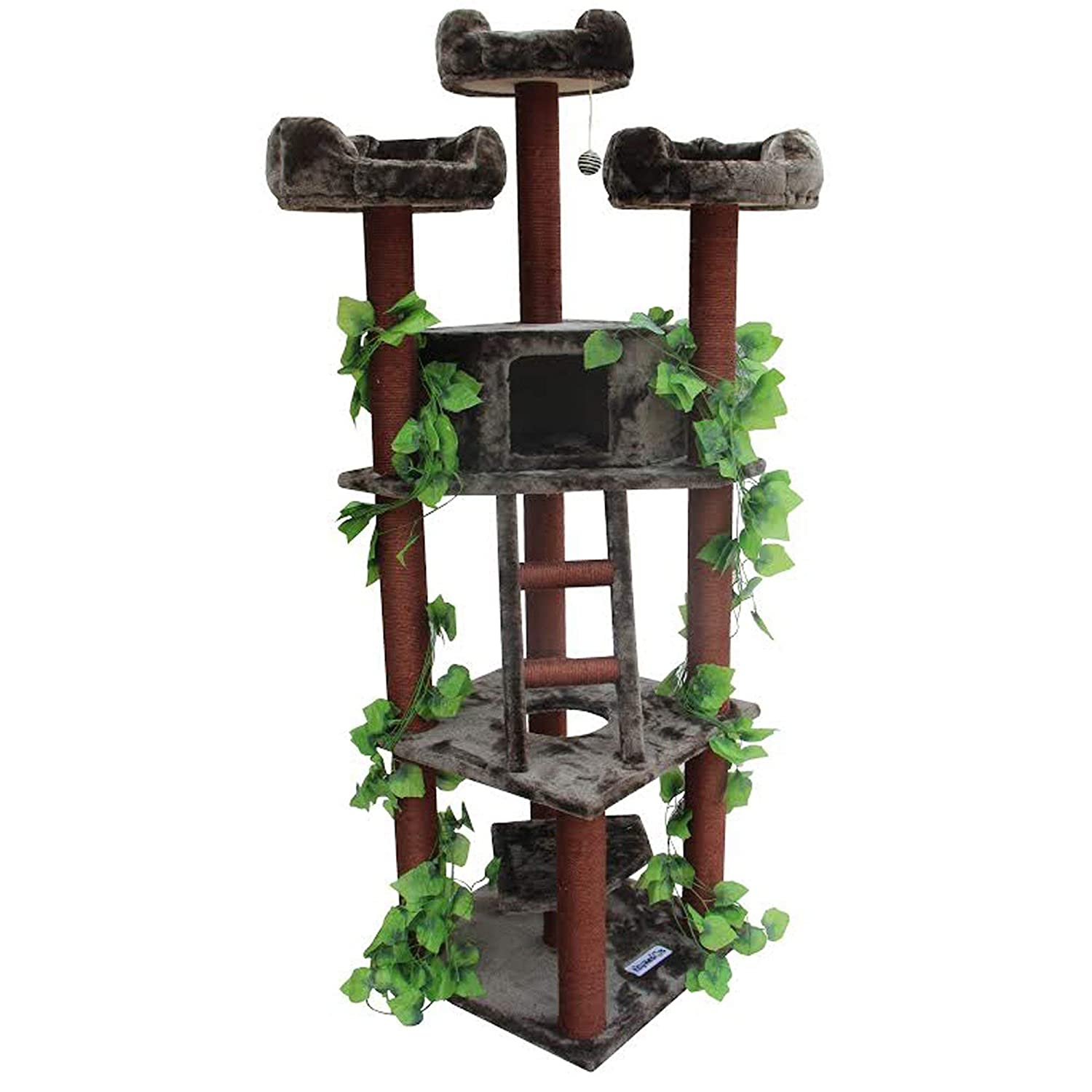 3 levels Kitty Mansions Redwood Cat Tree, Redwood