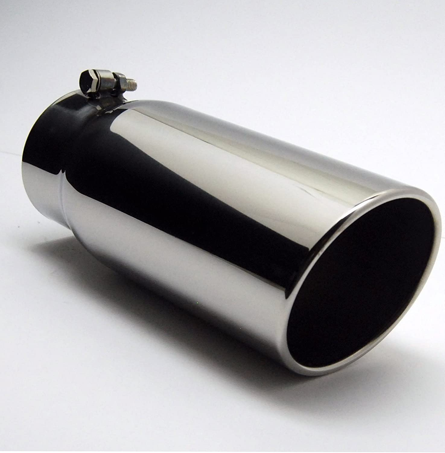 """Polished Inlet 2.25/"""" Stainless Steel Volt Oval Muffler Out 3.5/"""" Square Tip"""