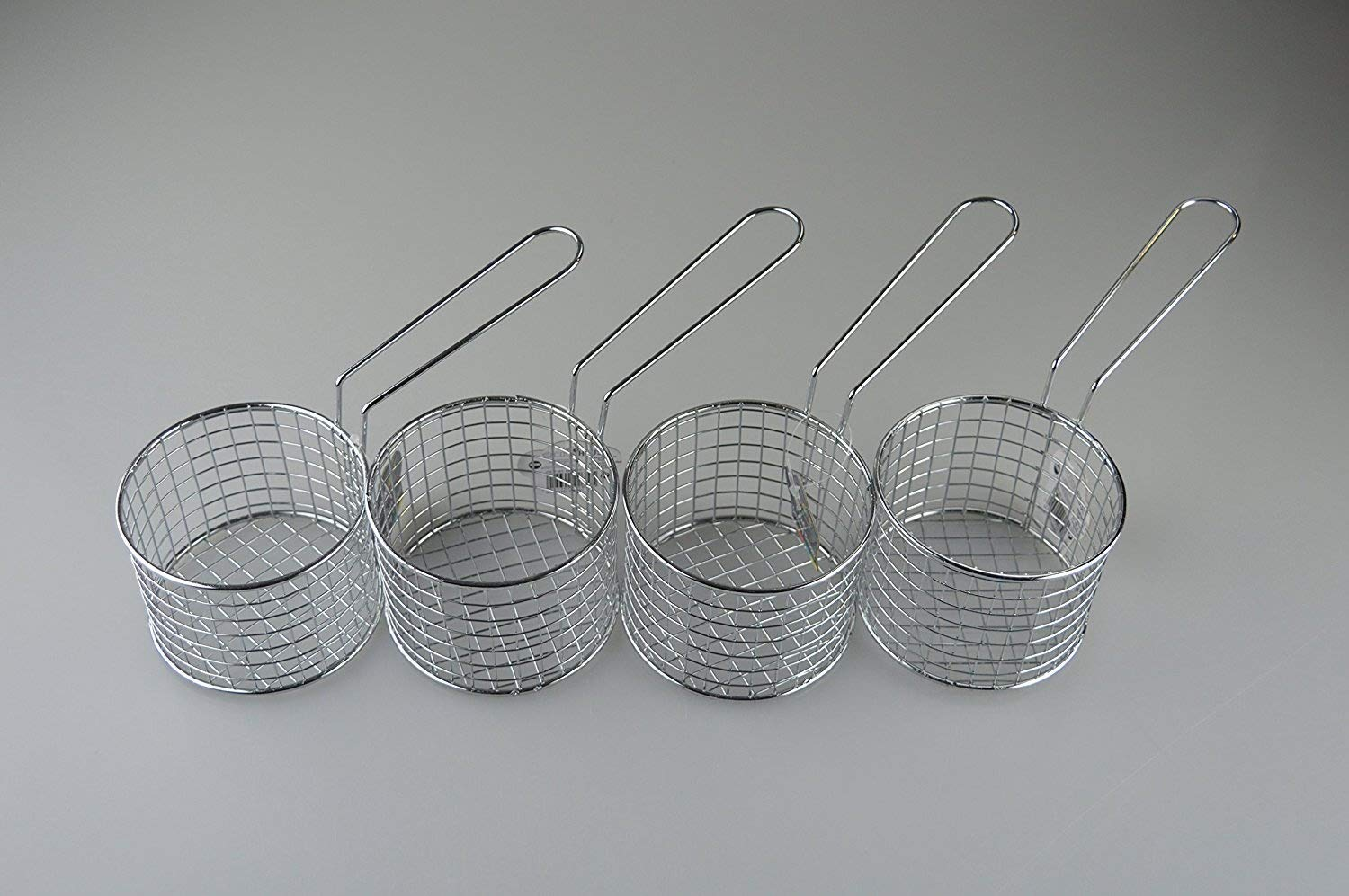 Chip Serving Basket Set of 4 Mini Bucket Fryer Pan Modern Bistro Style Presentation for French Fries, Onion Rings, Potato Wedges etc. Great for Tapas Dinner Party RSW
