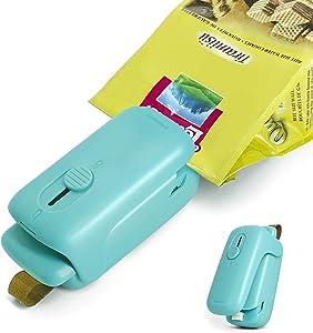 Mini Bag Sealer, Portable Handheld Heat Sealer, 2 in 1 Bag Resealer Sealer and Cutter for Plastic Bags Food Storage Snack Freshness, Green