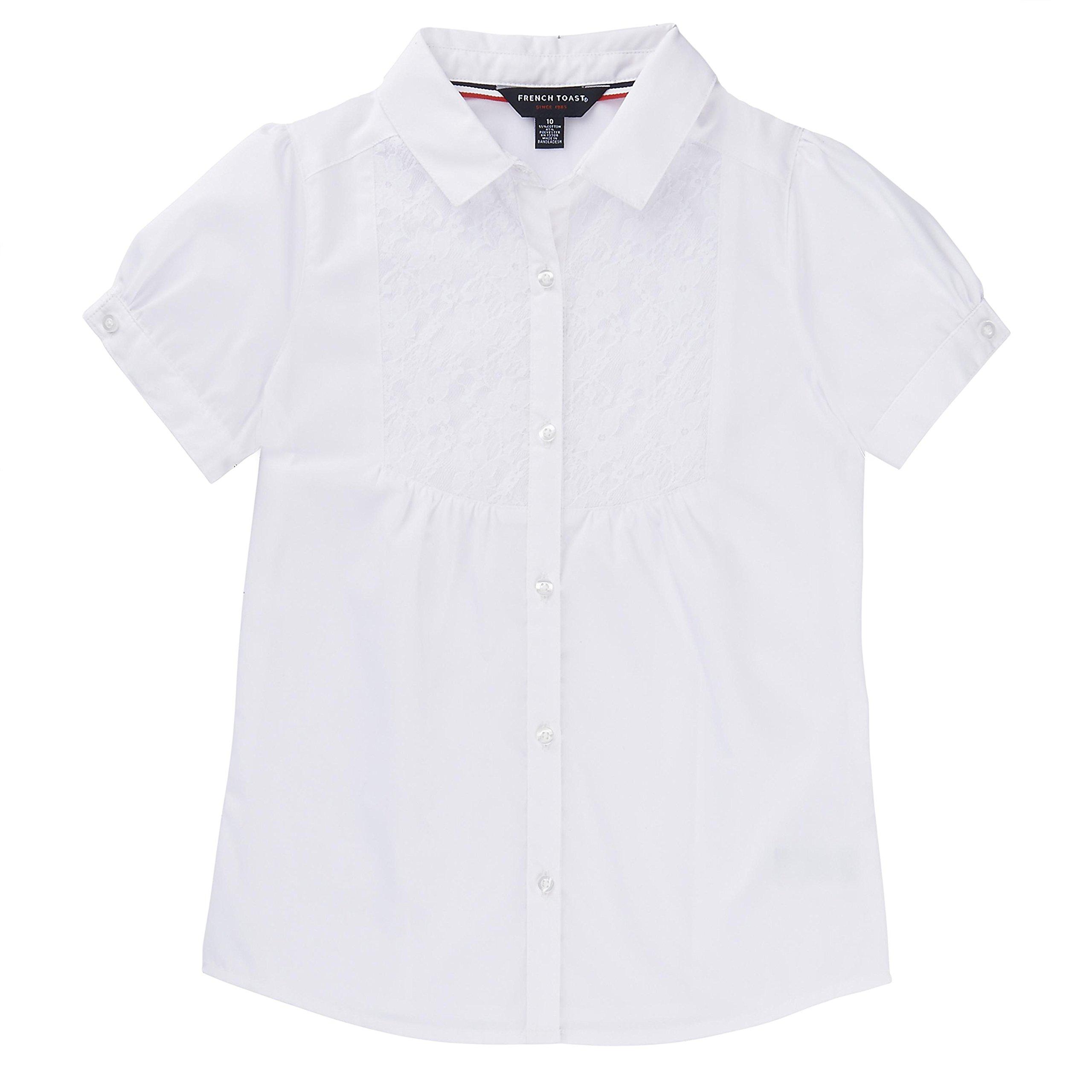 French Toast School Uniform Girls Short Sleeve Bib-Front Lace Blouse, White, 4