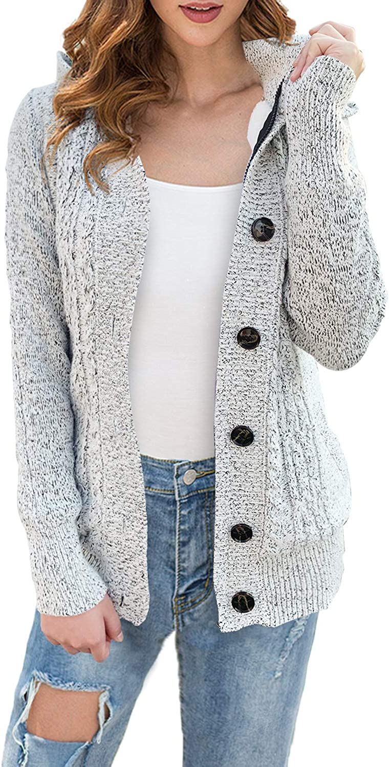 LIENRIDY Women's Hooded Knit Cardigans Button Cable Sweaters Coats with Pockets