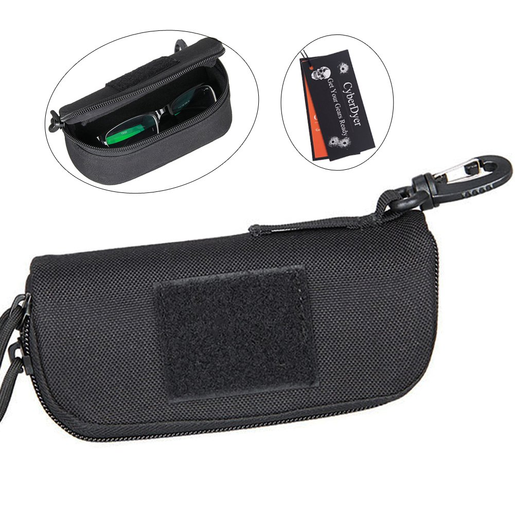 CyberDyer Tactical Eyeglasses Hard Case Portable 1000D Nylon Molle System Sunglasses Carrying Case with Clip (Black)