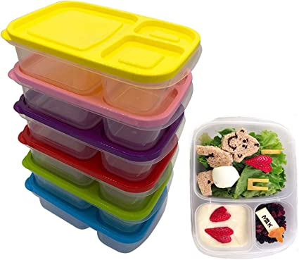 BENTO LUNCH BOXES FOOD STORAGE MEAL CONTAINER WITH LIDS FOR KIDS W//5-Compartment