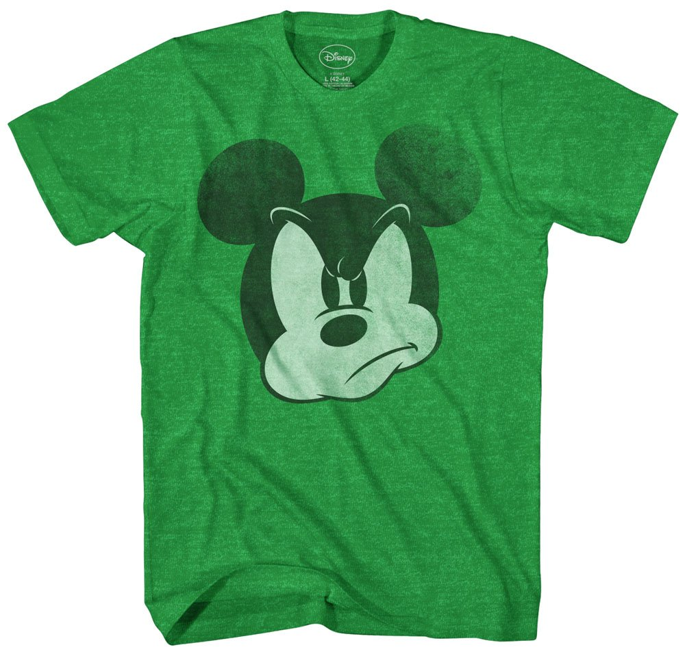 Mad Mickey Mouse Graphic Tee Classic Vintage Disneyland World Mens Adult T-shirt Apparel (Small, Heather Green)