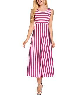 Meaneor Damen Ärmellos Maxikleid Strandkleid Sommerkleid Gestreiftes Kleid  Bodenlang Rundhals Casual Schwarz Weiß Gr.S 6bd3f878c9