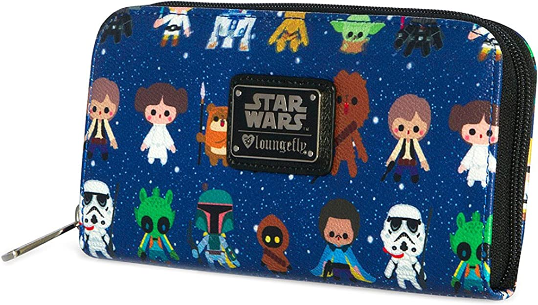 Loungefly Star Wars Baby Character Allover Print Zip Around Wallet