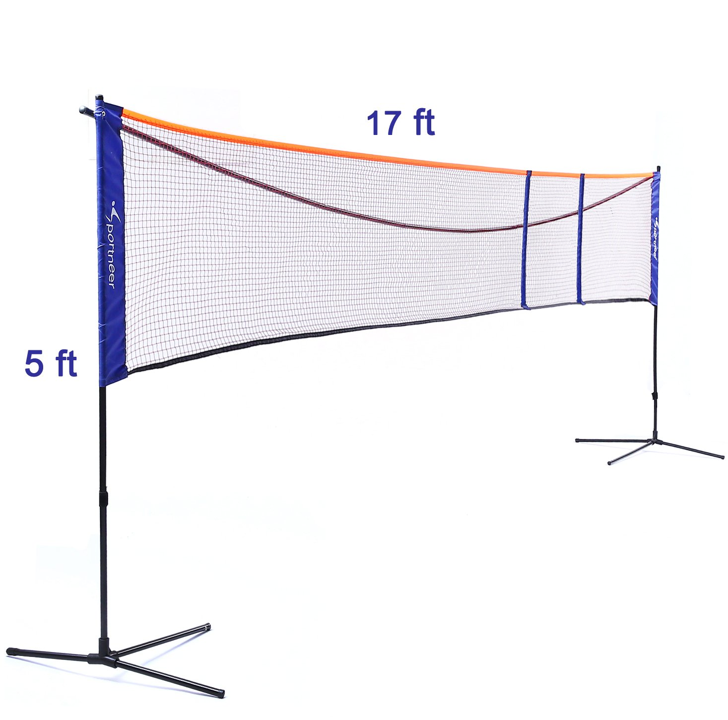 Badminton Net Stand Set Sportneer Adjustable Height(2.5-5ft) Lengh(10.5-17ft) Tennis Volleyball Net Set for Outdoor, Backyard and Beach Game, Bonus Carry Bag
