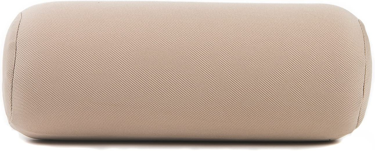 ALIBO Soft Memory Foam Car Cervical Round Roll Neck Rest Pillow Office Chair Bloster Headrest Supports Travel Neck Cushion Beige 1 Piece
