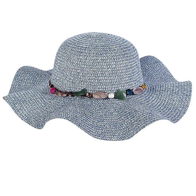 Rcool Gorras de béisbol Viseras Gorro de pescador Pamelas Sombreros Panamá, Sombrero de paja de ala ancha para mujer, sombrero de paja, playa grande: ...