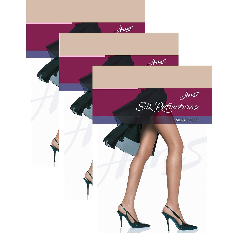 Hanes Women`s Set of 3 Silk Reflections Non-Control Top RT Pantyhose 11827-QL4