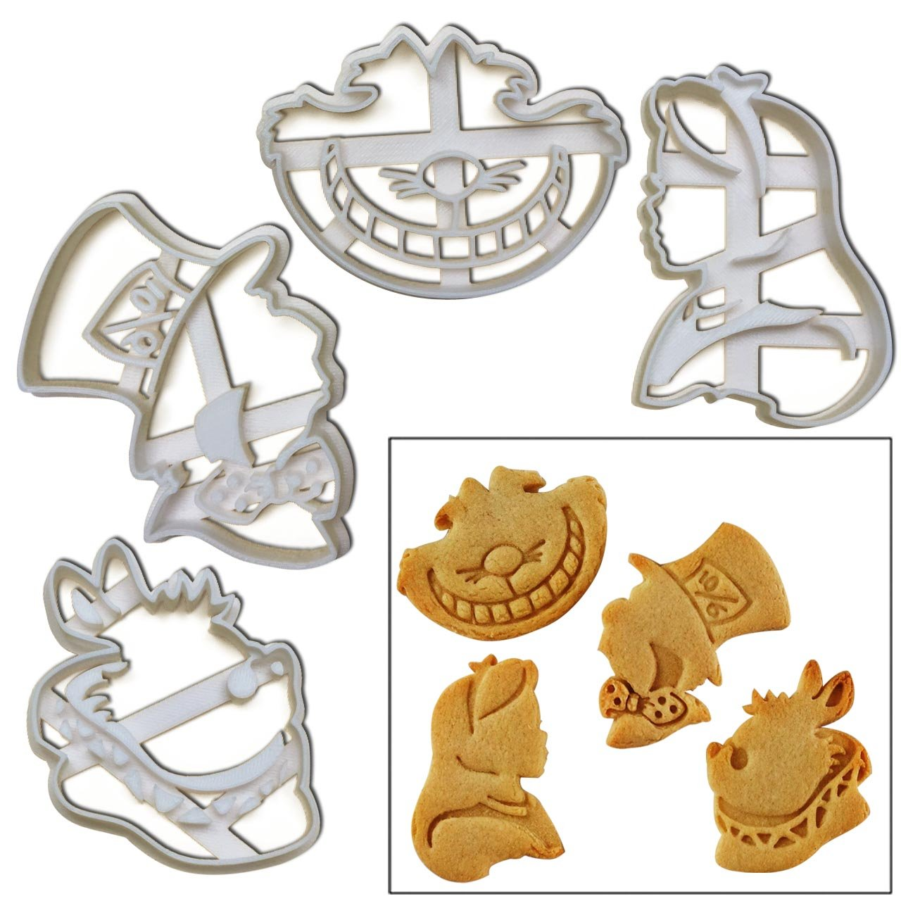FULL SET of 4 Characters Cookie Cutters inspired by ''Alice's Adventures in Wonderland'' novel by Lewis Carroll, 4 pcs, Includes Alice, Mad Hatter, Cheshire, and White Rabbit characters