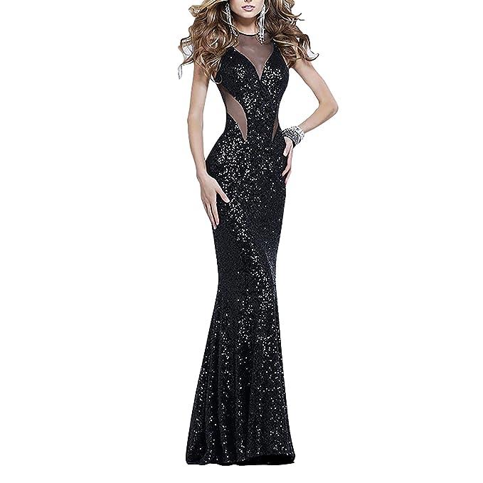 Dolamen Mujer Vestidos, Cuello redondo Vintage y estilo retro, adelgace el vestido sin mangas largo maxi del coctel del ajuste, perfecto para el partido y ...