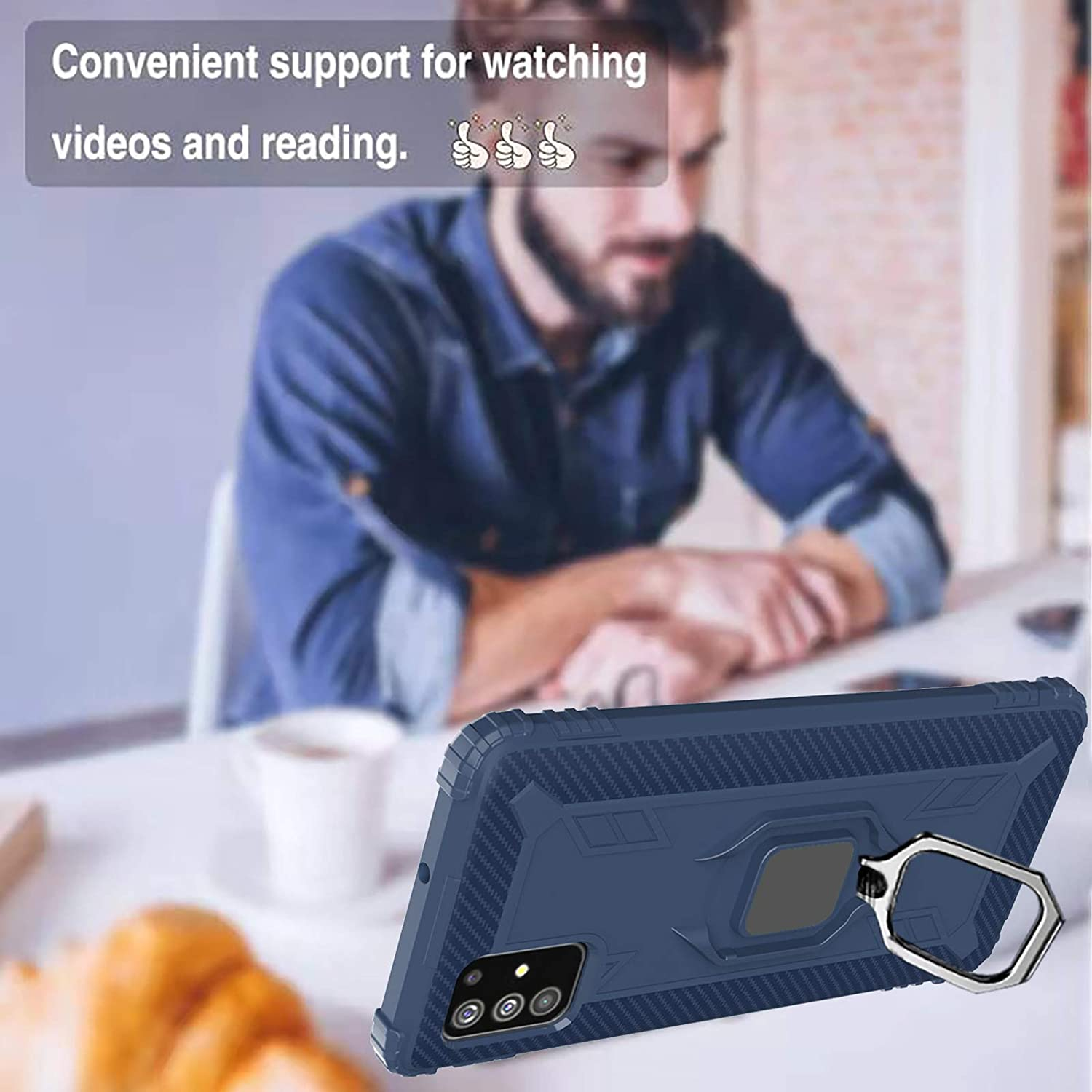 with Metal Ring Holder Kickstand Work with Magnetic Car Mount Shockproof Protective Soft Cover-Black Not Fit A51 4G Newseego Compatible with Samaung Galaxy A51 5G Case